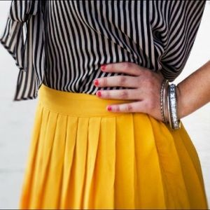 Forever 21 Canary Yellow Pleated Skirt